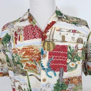Vtg Paradise Found Medium Southwest Hawaiian Shirt
